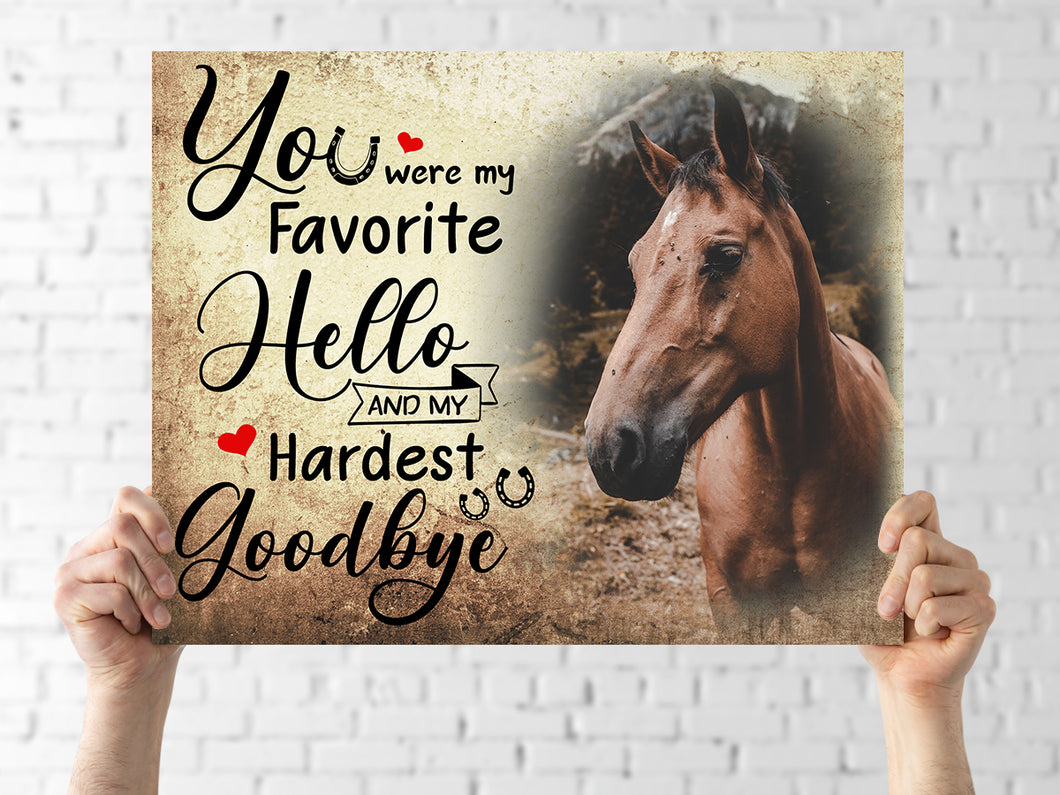 Upload Custom Photo Canvas - In Memory of Horse Hardest Goodbye - Personalized horse canvas print Mother gift idea horse lover memorial gift