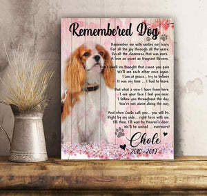 Upload Custom Photo Canvas - Remembered Dog - Personalized dog canvas print Mother gift idea dog lover