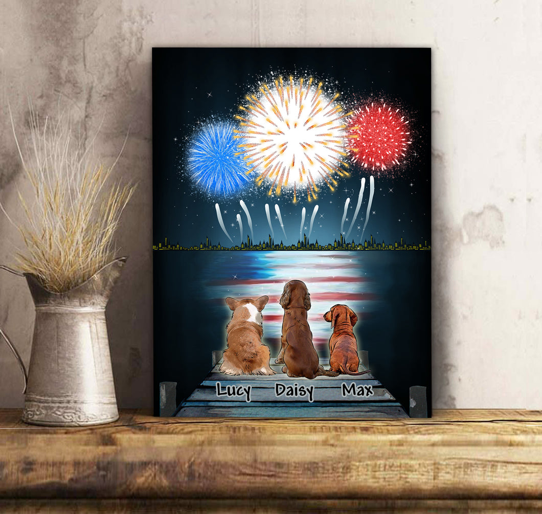 Custom personalized dog canvas prints wall art gift for dog dad mom pet lovers, dad lovers - Memory Day - PersonalizedWitch