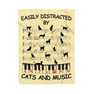 Cats and music, fleece blanket, cats lovers gifts music lovers gifts friend gifts best family gifts