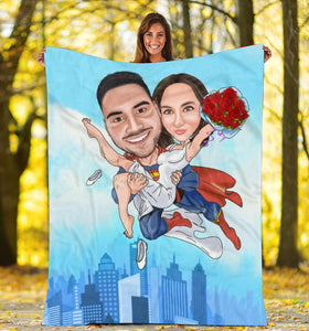 Custom personalized fleece blanket couple husband and wife gifts idea, Christmas, wedding anniversary birthday presents for loved one - You are my hero - PersonalizedWitch