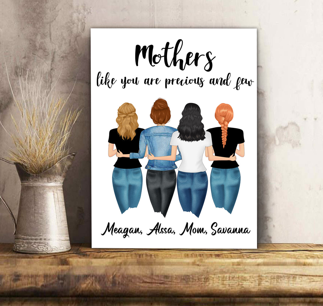 Custom personalized canvas prints wall art Mother's day gifts idea, Christmas, birthday presents for mom from daughter - Mother Friends - PersonalizedWitch