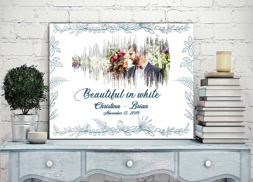 Beautiful sound of wedding memories - Personalized custom love canvas print couple canvas mother day gift idea wedding gift, convert sound to art, picture