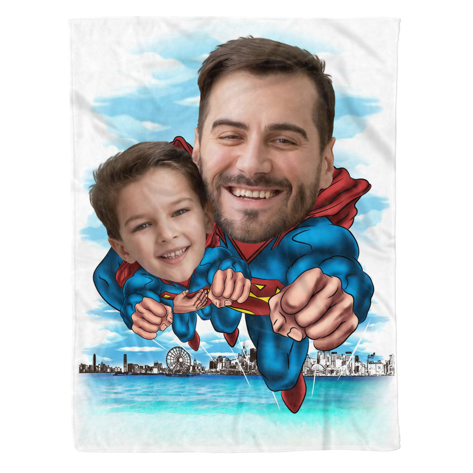 Super Dad - Custom fleece blanket personalized caricature family portrait unique funny gifts for best friends friendship couples father mothers day his and hers anniversary gifts birthday present