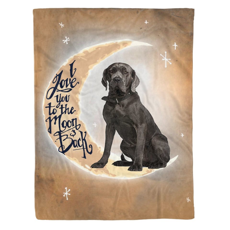 I love you to the moon and back Dog Fleece Blanket Gift for Neapolitan mastiff lover dog lover unique gift birthday present