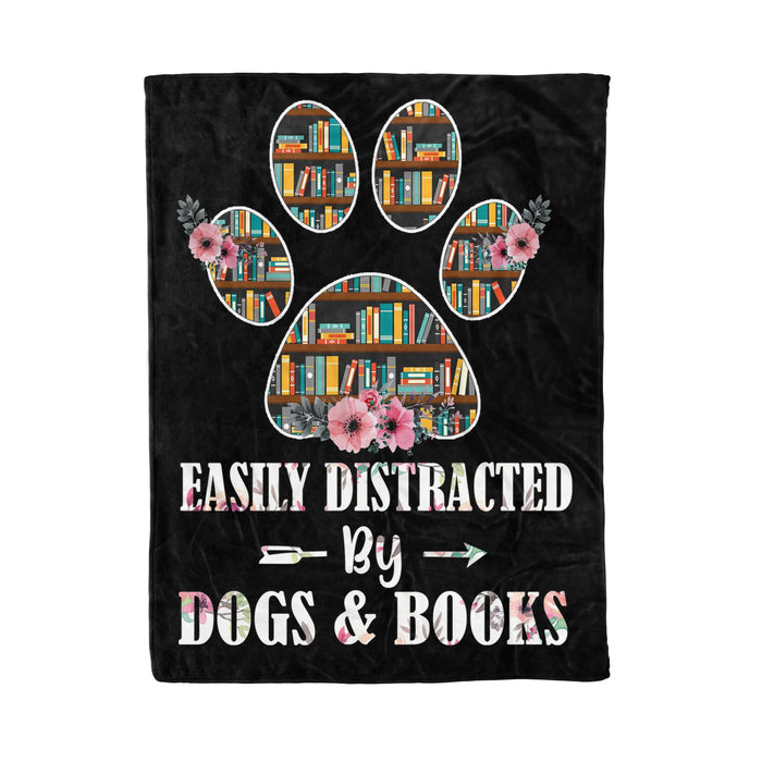 Fleece Blanket Mother's day Father's day unique gift ideas for mom & dad from daughter & son kids, meaningful birthday presents -  Dogs and books, fleece blanket, dogs lovers gifts books lovers gifts friend gifts best family gifts