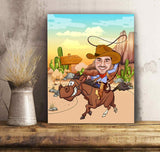 Personalized Matte Canvas - Cowboy personalized caricature family portrait unique funny gifts for couples mothers day his and hers anniversary gifts