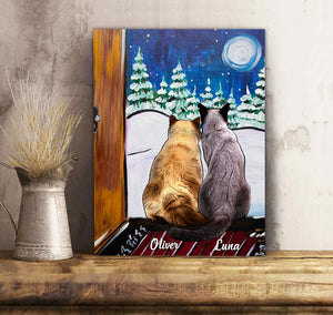 Custom personalized cat canvas Pet remembrance print gift idea for cat mom dad pet lovers - Custom Cat Canvas Cat Waiting - PersonalizedWitch
