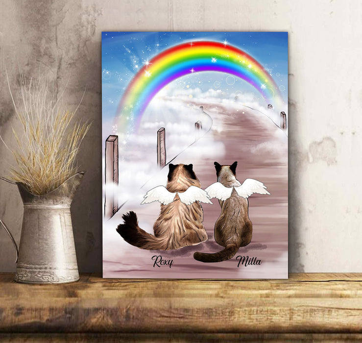 Custom personalized cat memorial canvas print wall art Pet remembrance canvas gifts for cat mom dad pet lovers - Custom Cat Canvas Rainbow Bridge - Personalized cat & owner canvas, pet lovers, mom and dad gift - Personalizedwitch