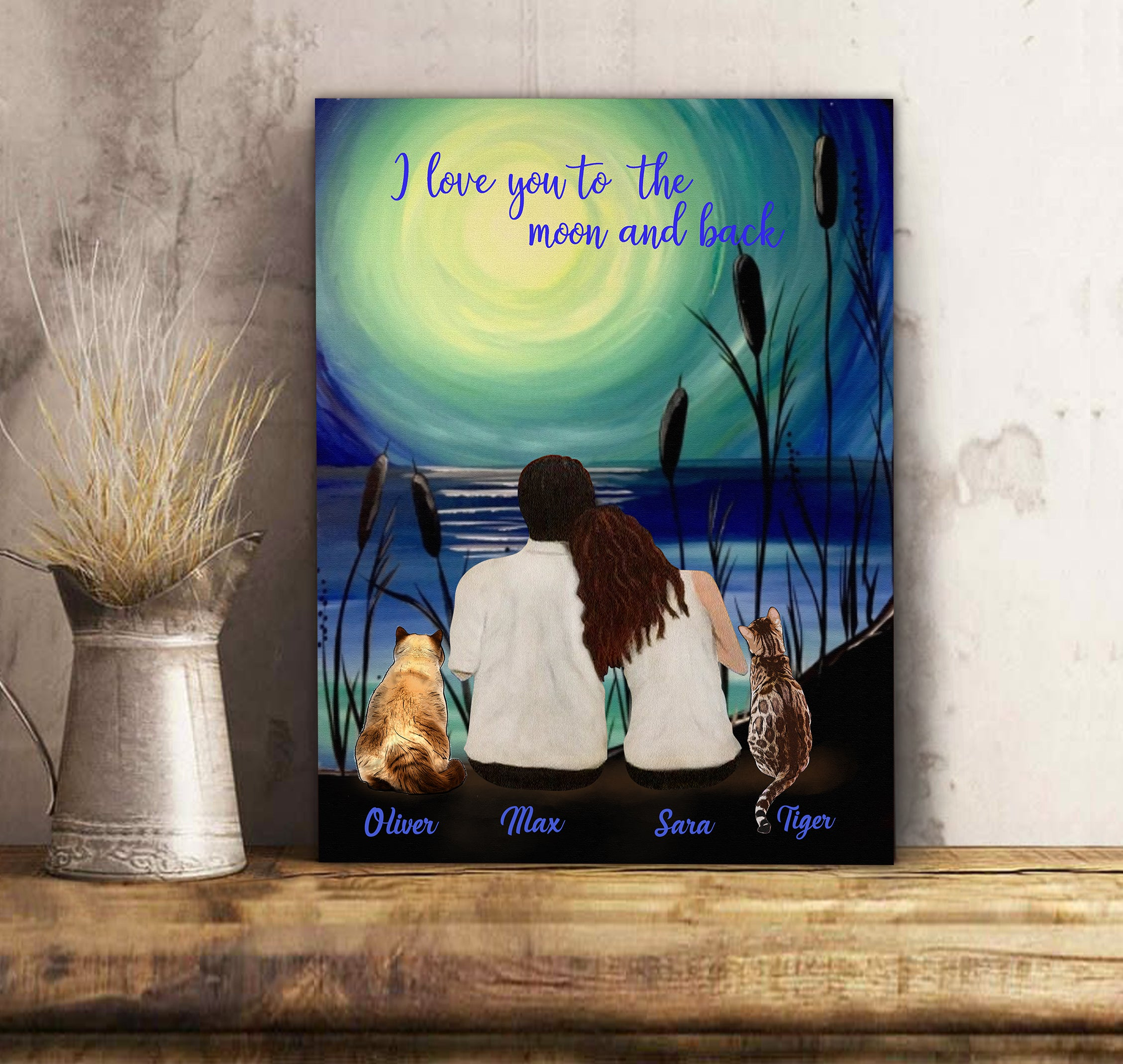 Custom personalized cat & owners canvas Pet remembrance print gift idea for the whole family - Couple And Moonlight - PersonalizedWitch