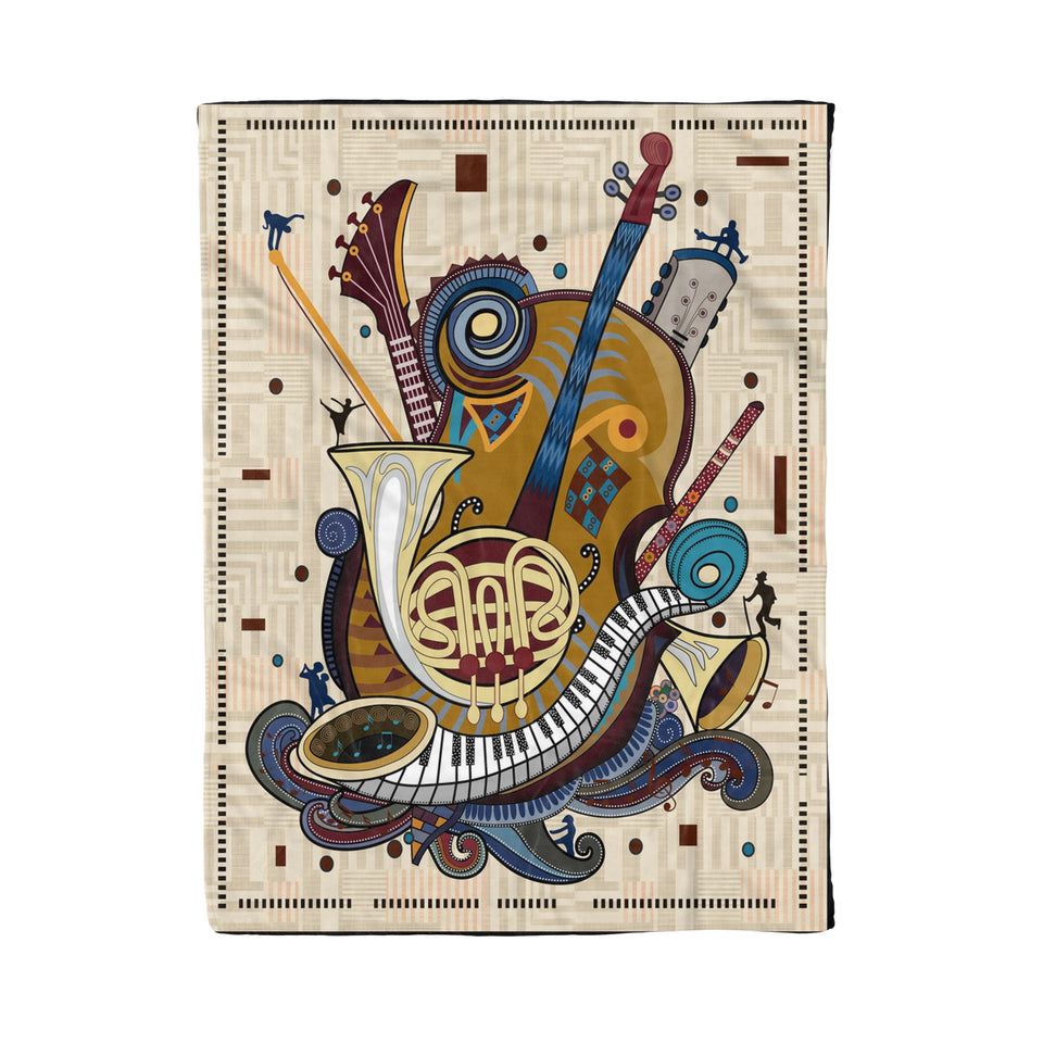 Vintage Background Musical Instrument Gallery Fleece Blanket - Best Gift Family Idea