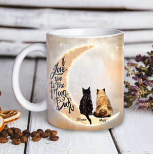 Custom Cat Mug Love You To The Moon And Back - Personalized cat & owner canvas, pet lovers, mom and dad gift