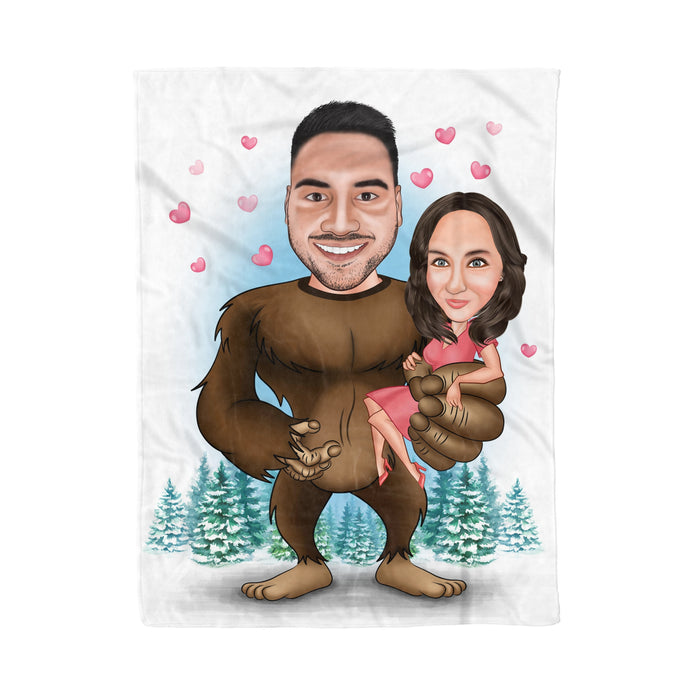 Custom personalized fleece blanket couple husband and wife gifts idea, Christmas, wedding anniversary birthday presents for loved one - Big Foot - PersonalizedWitch
