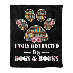 Dogs and books, fleece blanket, dogs lovers gifts books lovers gifts friend gifts best family gifts