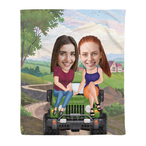 Custom personalized best friend photo to fleece blanket Birthday gift ideas for friends, christmas friendship gifts - Friends On The Car - PersonalizedWitch
