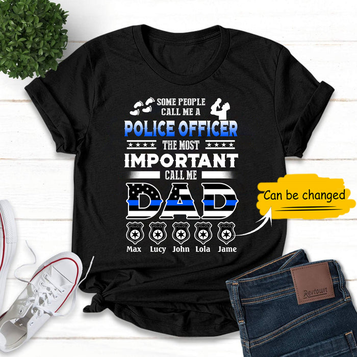 Custom personalized Tshirt unique father's day gift, meaningful fatherhood day presents, birthday gift for police dad, husband ideas from daughter & son kids, wife (plus size available) - Daddy Police D1244 - PersonalizedWitch