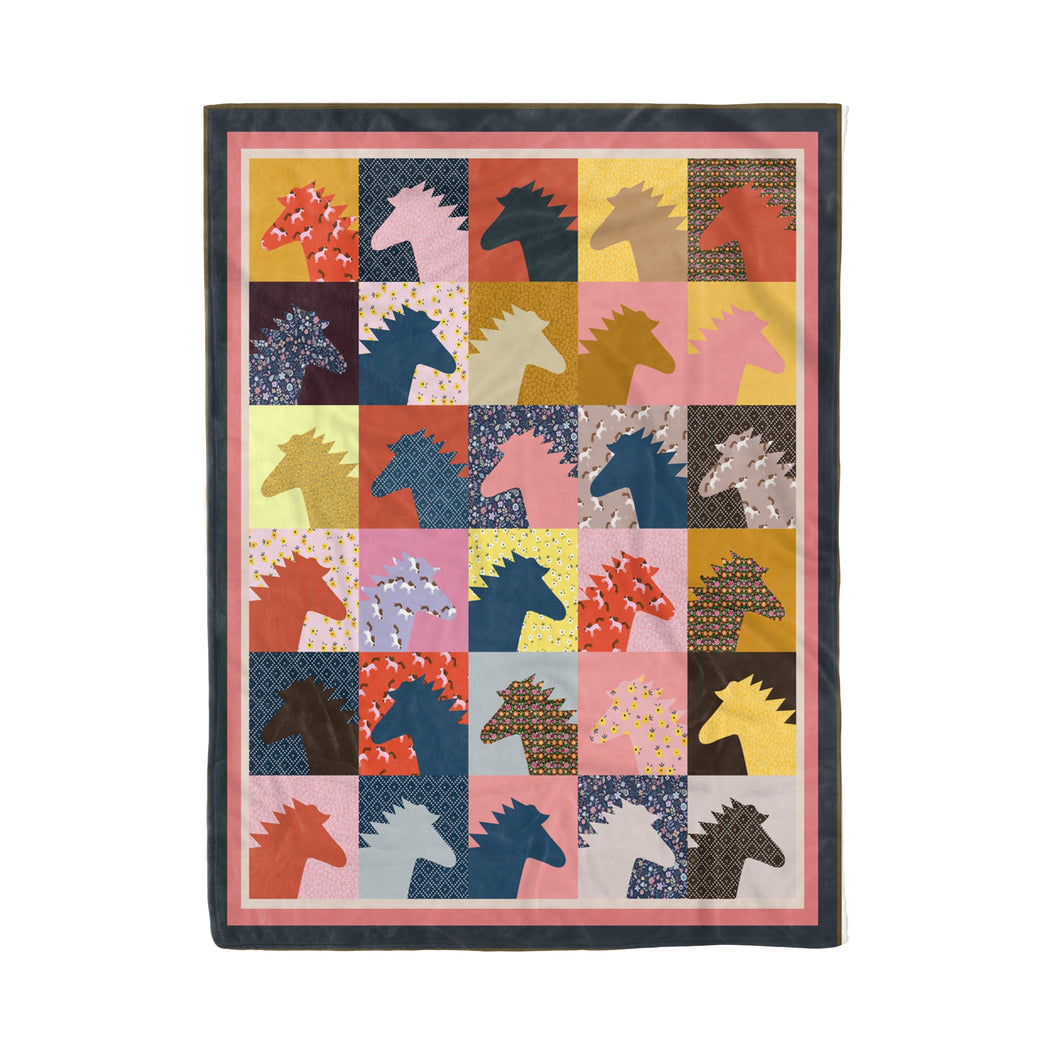 Colorful Horses Fleece Blanket