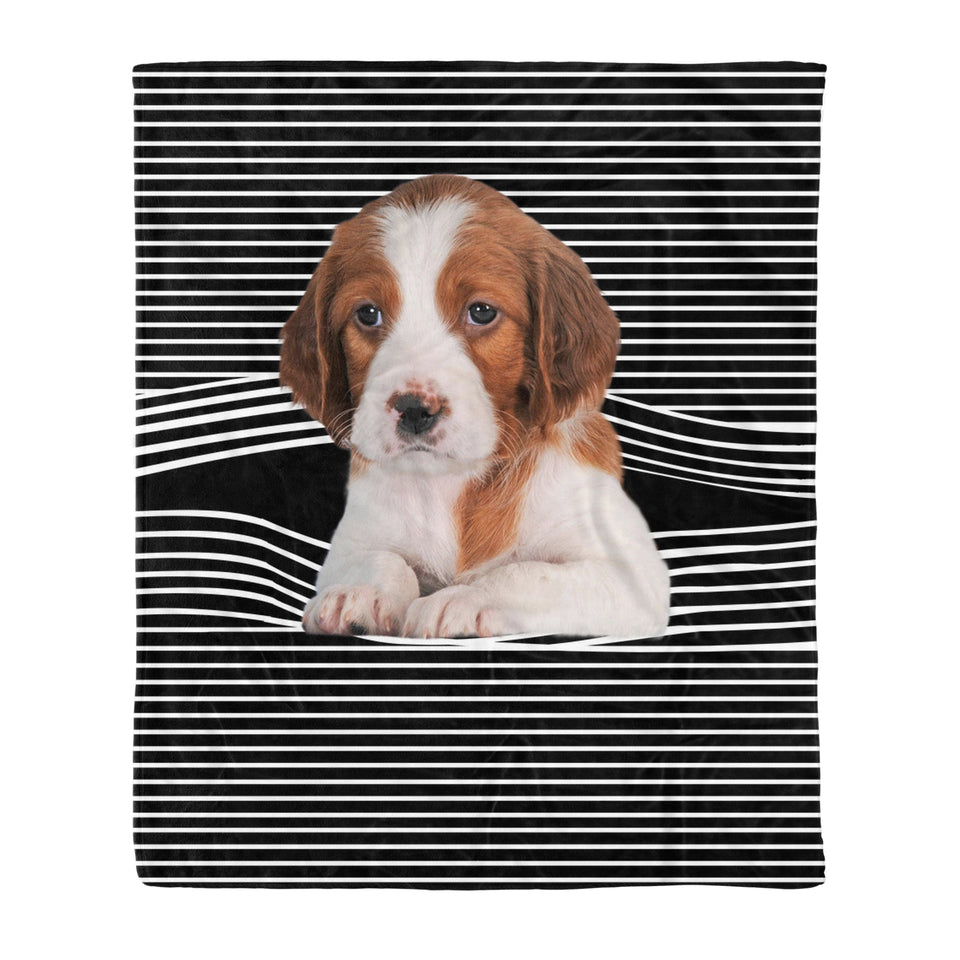 Irish Red and White Setter Stripe Fleece Blanket, Unique Gifts For Dog Lovers, Best Friend, Parents