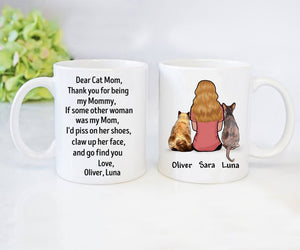 Custom personalized cat coffee mugs gift for cat owners lovers Mother of Cats - Dear Mommy - PersonalizedWitch