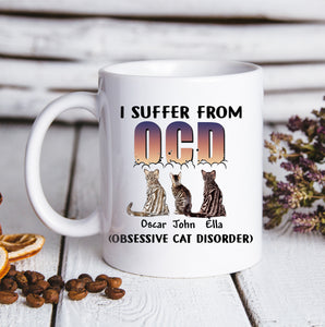 Custom personalized pet lovers, cat lovers - Custom Cats Pillow And Mug Obsessive Cat Disorder- PersonalizedWitch