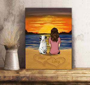 Custom personalized dog & owners canvas Pet remembrance print gift idea for the whole family - Dog and Friend Sunset - PersonalizedWitch
