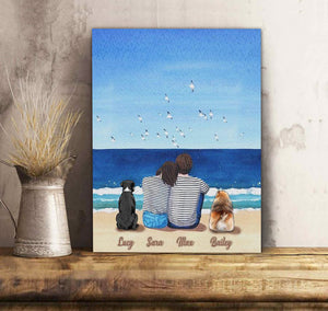 Custom personalized dog & owners canvas Pet remembrance print gift idea for the whole family - Beach View - PersonalizedWitch