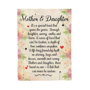 Mother And Daughter Sign - Mother's day gifts ideas for mom presents for special woman custom gift Fleece Banket