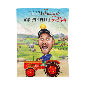 Custom Fleece Blanket - Tractor Farmer Father personalized caricature family portrait unique funny gifts for friends besties couples mothers day his and hers anniversary gifts birthday present