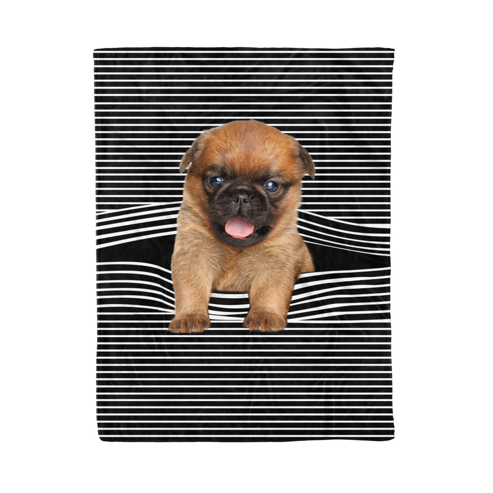 Griffon Bruxellois Stripe Fleece Blanket
