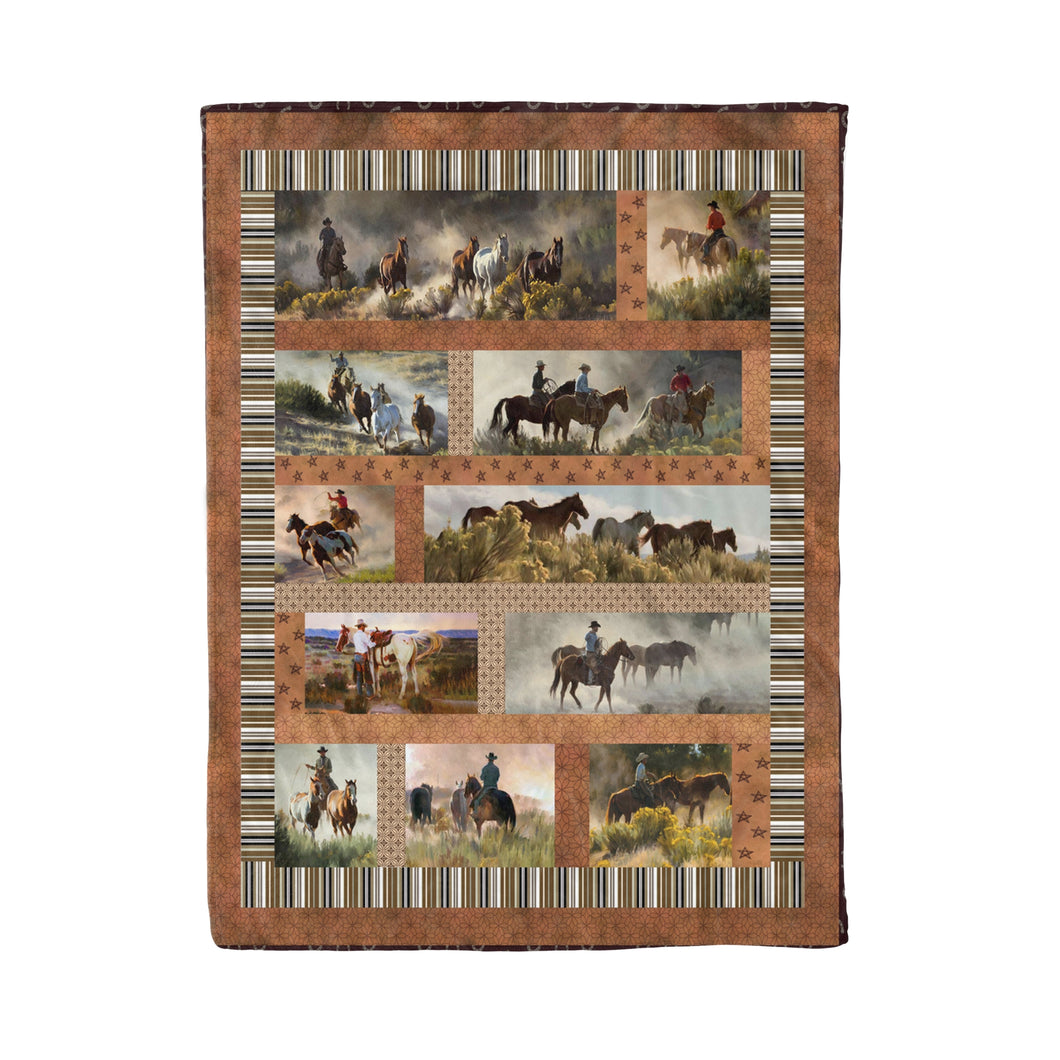 Horse And Cowboy Fleece Blanket