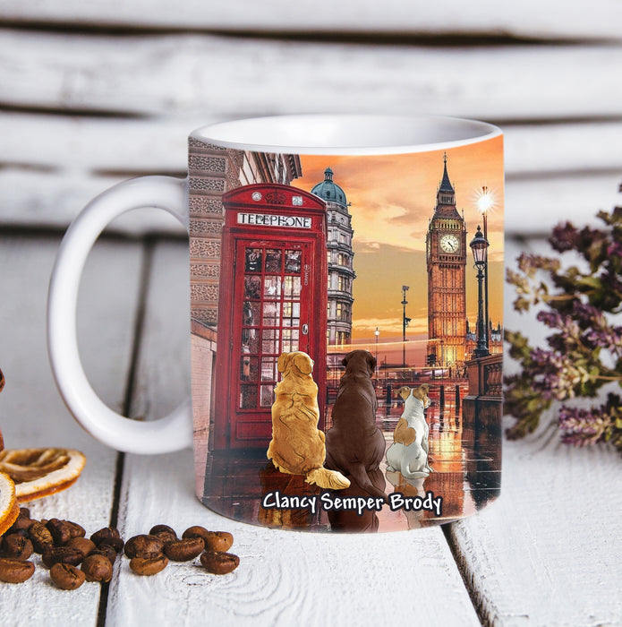 Custom personalized dog coffee mugs gift for dog dad mom pet lovers, dad lovers - Big Ben London View - PersonalizedWitch