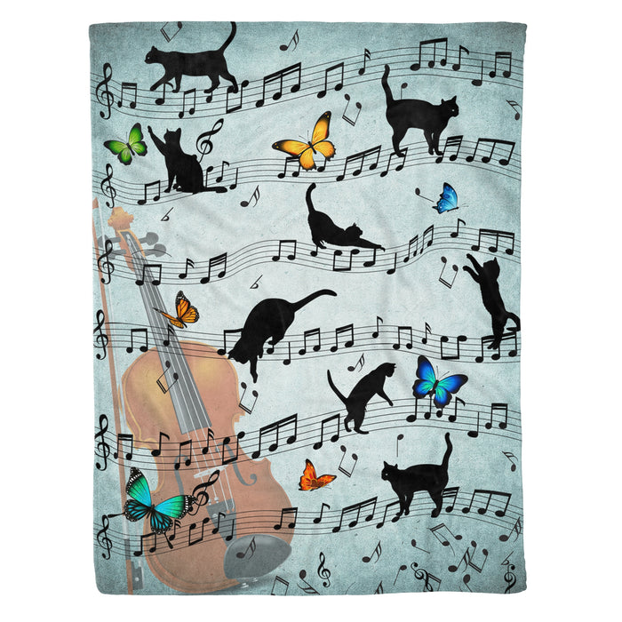 Naughty Black Cat & Music Notes Violin Fleece Blanket