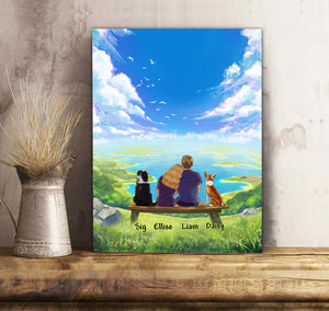 Custom personalized dog & owners canvas Pet remembrance print gift idea for the whole family - Blue Sky - PersonalizedWitch