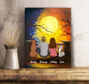 Custom personalized dog & owners canvas Pet remembrance print gift idea for the whole family - Couple And New Moon - PersonalizedWitch
