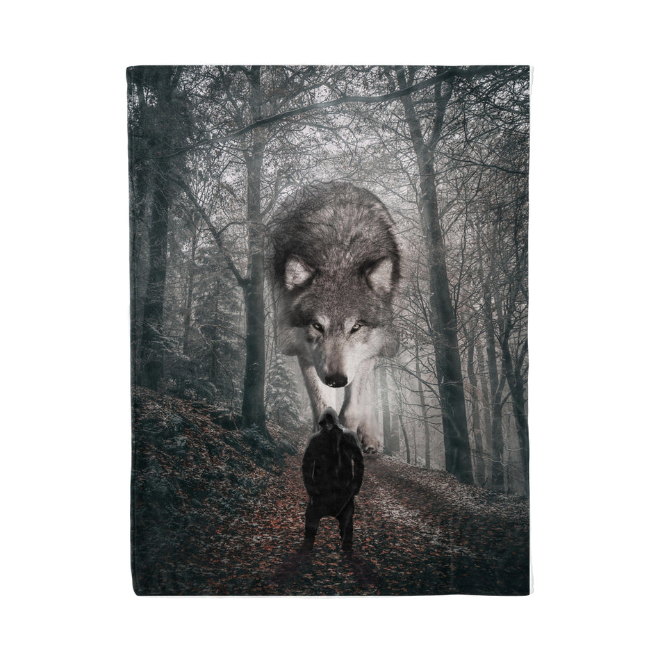 Strong Wolf Fleece Blanket - Wolf fleece blanket wolf lover gift birthday gift idea