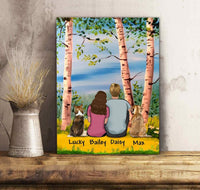 Custom personalized dog & owners canvas Pet remembrance print gift idea for the whole family - Summer Birch - PersonalizedWitch