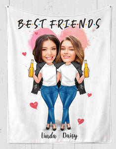 Custom personalized best friend photo to fleece blanket Birthday gift ideas for friends, christmas friendship gifts - Best Friends - PersonalizedWitch