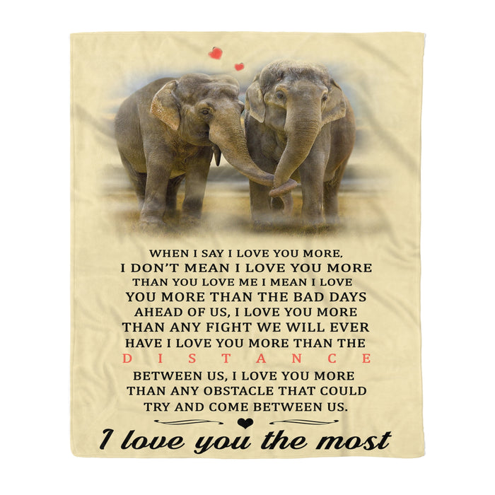 I Love You The Most Elephant Fleece Blanket Elephant lover gift birthday present unisex womens & mens, couples matching, friends, funny family blanket gifts Valentines day gifts for him her couple boyfriend girlfriend