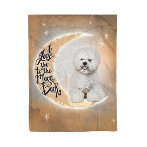 I love you to the moon and back Dog Fleece Blanket Bichon Frise lover dog lover unique gift birthday gift