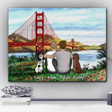 Custom Dog Canvas and Mug Golden Gate Bridge View 02