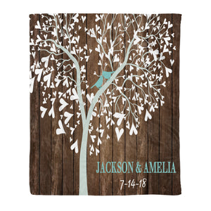 Custom personalized couple fleece blanket husband and wife gifts idea, Christmas, wedding anniversary birthday presents for loved one - Heart Tree Love Birds - PersonalizedWitch