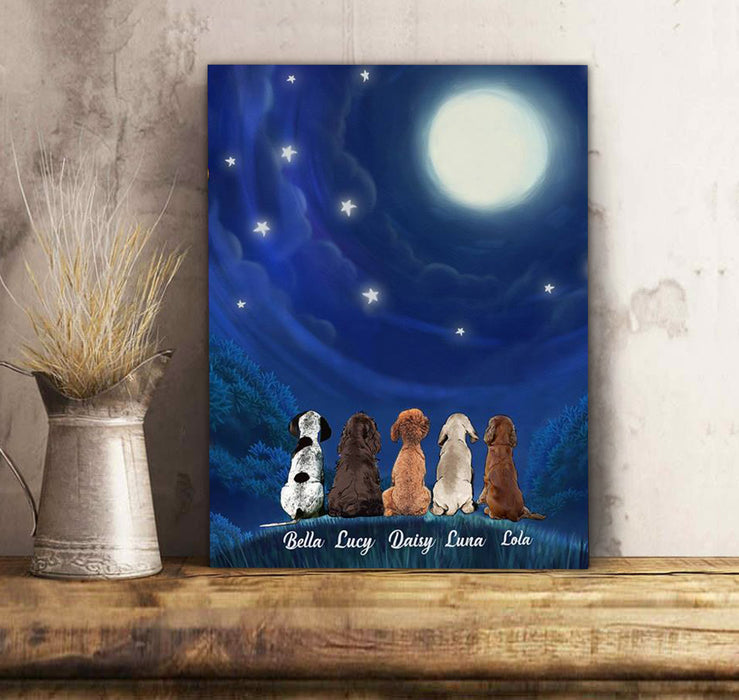 Custom personalized dog canvas Pet print gift idea for dog mom dad pet lovers - Moonlight - Personalizedwitch