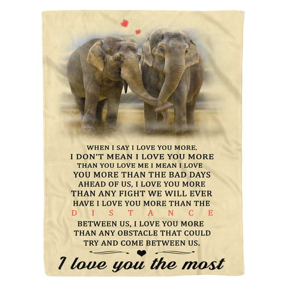 I Love You The Most Elephant Fleece Blanket Elephant lover gift birthday present