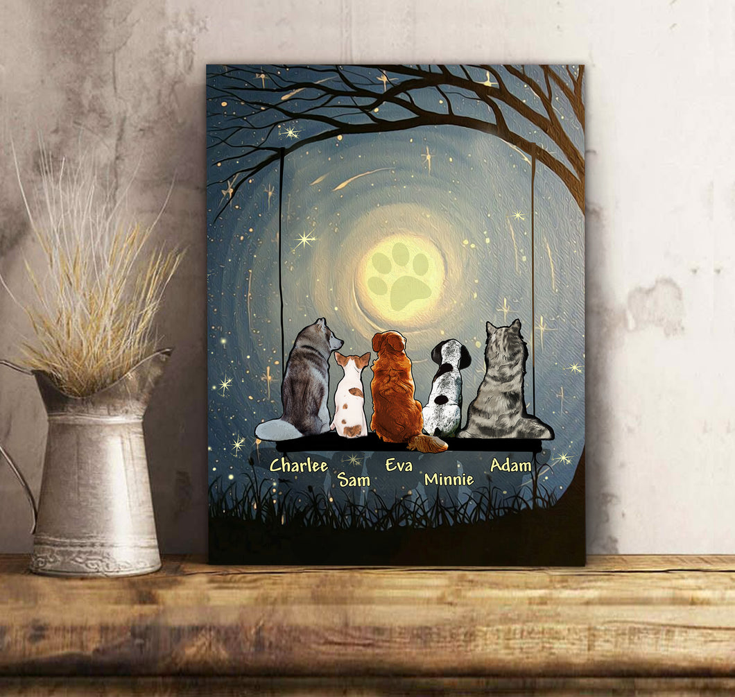 Custom Dog Canvas And Mug Pawprint And Moonlight