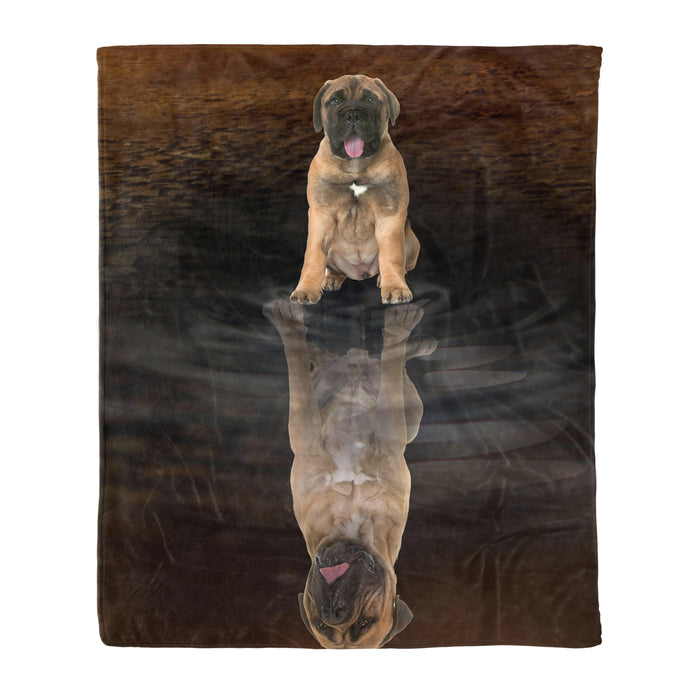Dog & owners fleece blanket Pet remembrance gift idea for the whole family, dog lovers, dog dad mom - Bullmastiff Dreaming - Dog blanket dog lover gift idea family gift - PersonalizedWitch