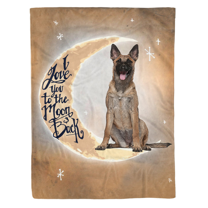 Fleece Blanket Mother's day Father's day unique gift ideas for mom & dad from daughter & son kids, meaningful birthday presents -  I love you to the moon and back Belgian Malinois Fleece Blanket dog lover gift belgian malinois lover birthday present