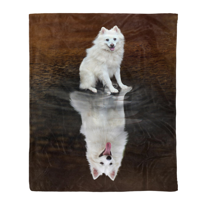 Fleece Blanket Mother's day Father's day unique gift ideas for mom & dad from daughter & son kids, meaningful birthday presents -  American Eskimo Dog Reflection Fleece Blanket - Dog lovers, dog gift, birthday gift, pet, pet lovers, animal
