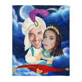 Custom personalized photo to fleece blanket couple husband and wife gifts idea, Christmas, wedding anniversary birthday presents for loved one - Aladdin Couple - PersonalizedWitch