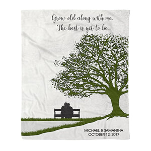 Personalized Couple Fleece Blanket - Grow Old Along With Me - Best custom couple gift wedding anniversary gift