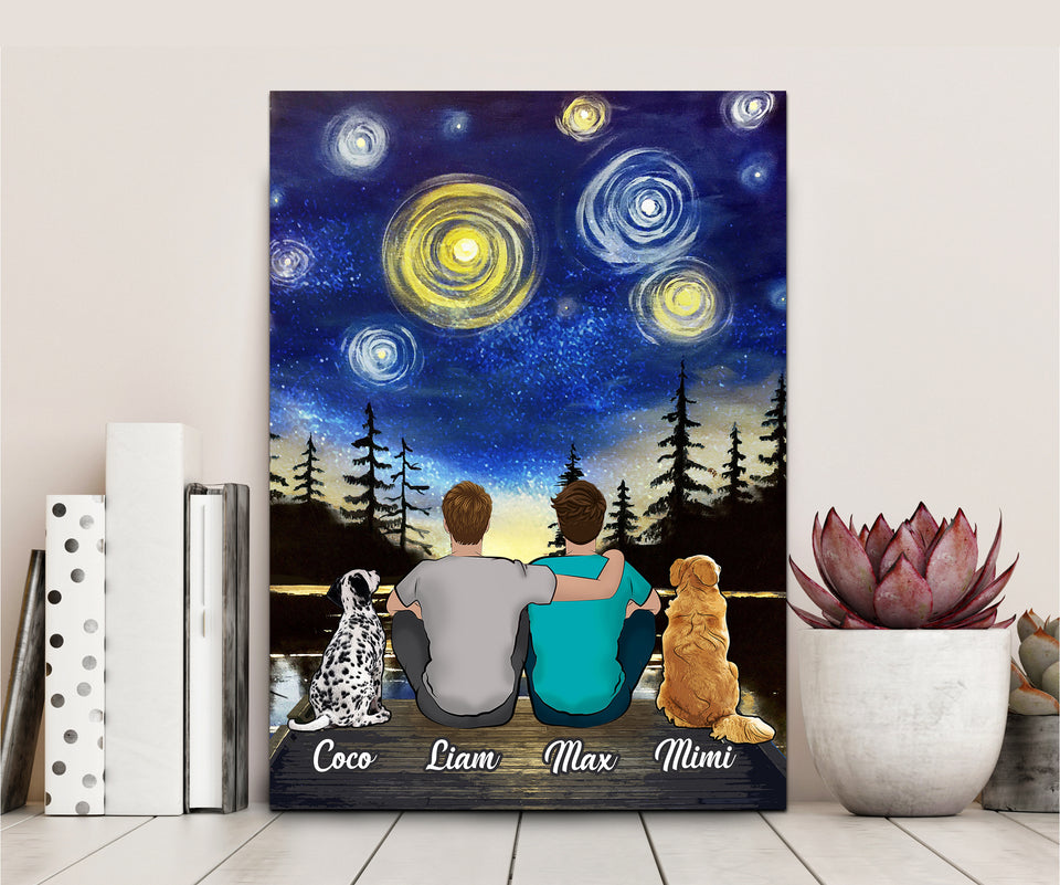 Custom Dog Canvas and Mug Starry Lake